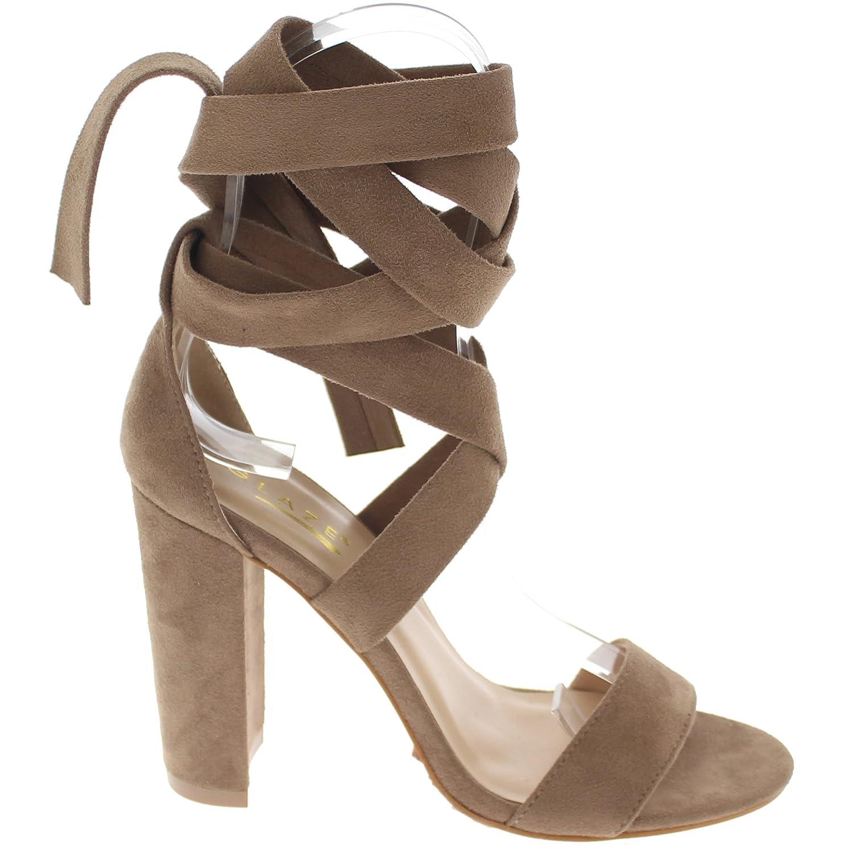 0e8b1f7332 Amazon.com | Glaze Open Toe Chunky Heel Sandal w/Wrap Around Strap Lily11 |  Sandals