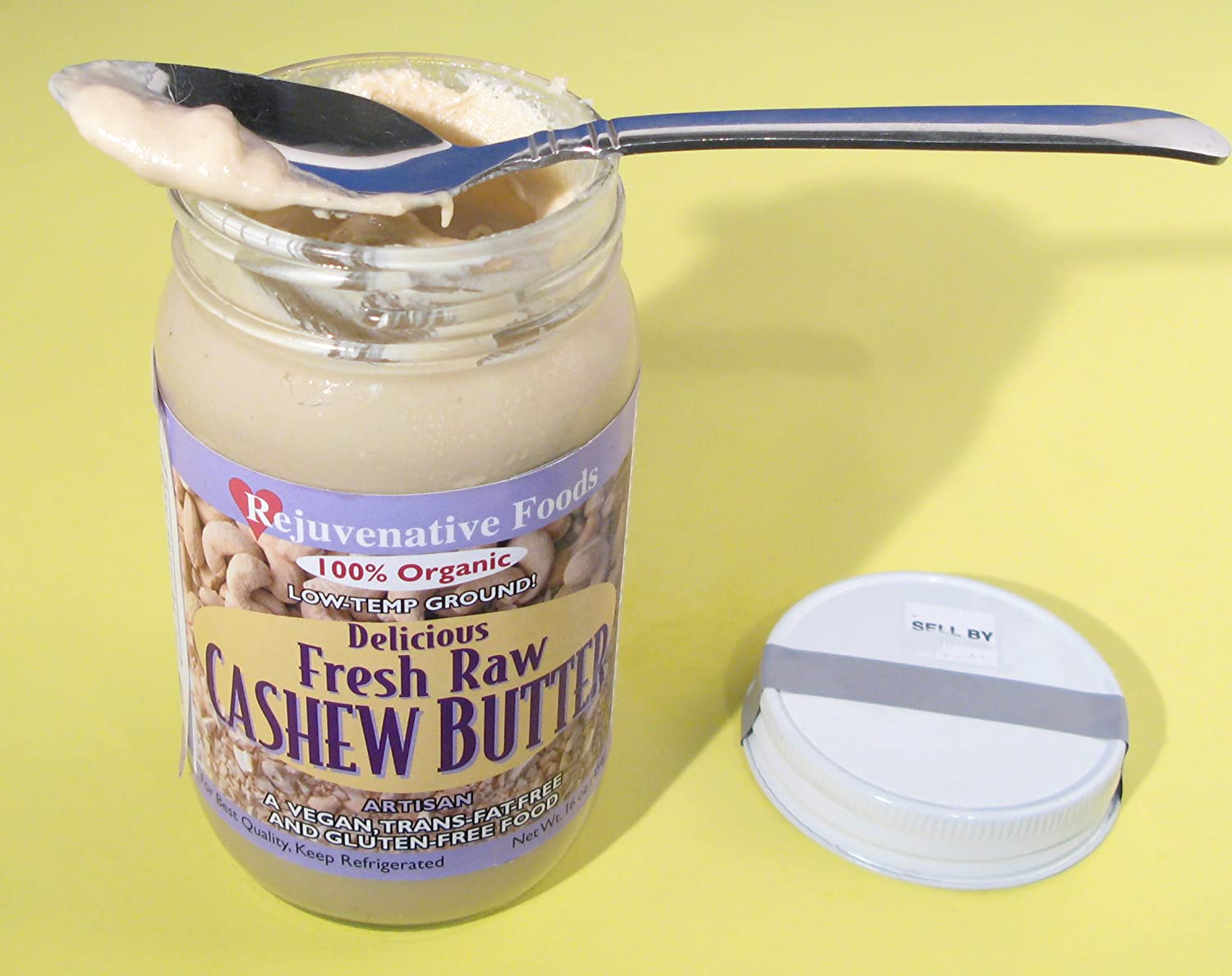 Amazon.com : Fresh-Pure-Raw Smooth Creamy Cashew Butter Rejuvenative Foods Organic Certified Low-Temp-Ground Artisan-Ayurvedic-Vegan In-Glass ...