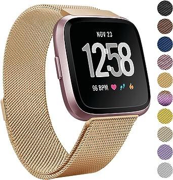 eDriveTech Correa Compatible para Fitbit Versa/Versa Lite, Acero Inoxidable Pulseras de Repuesto Wristband con Cierre Magnético Sports Reemplazo de Bandas para Fitbit Versa: Amazon.es: Deportes y aire libre