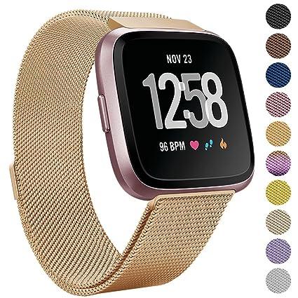 eDriveTech para Fitbit Versa Correa, Milanés Acero Inoxidable Pulseras de Repuesto Wristband con Cierre Magnético Sports Ajustable Reemplazo de Bandas ...