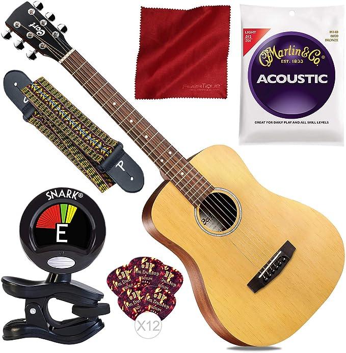 Cort Standard Series Guitarra acústica Dreadnought tamaño 3/4 con correa para guitarra, sintonizador y paquete de principiante: Amazon.es: Instrumentos musicales