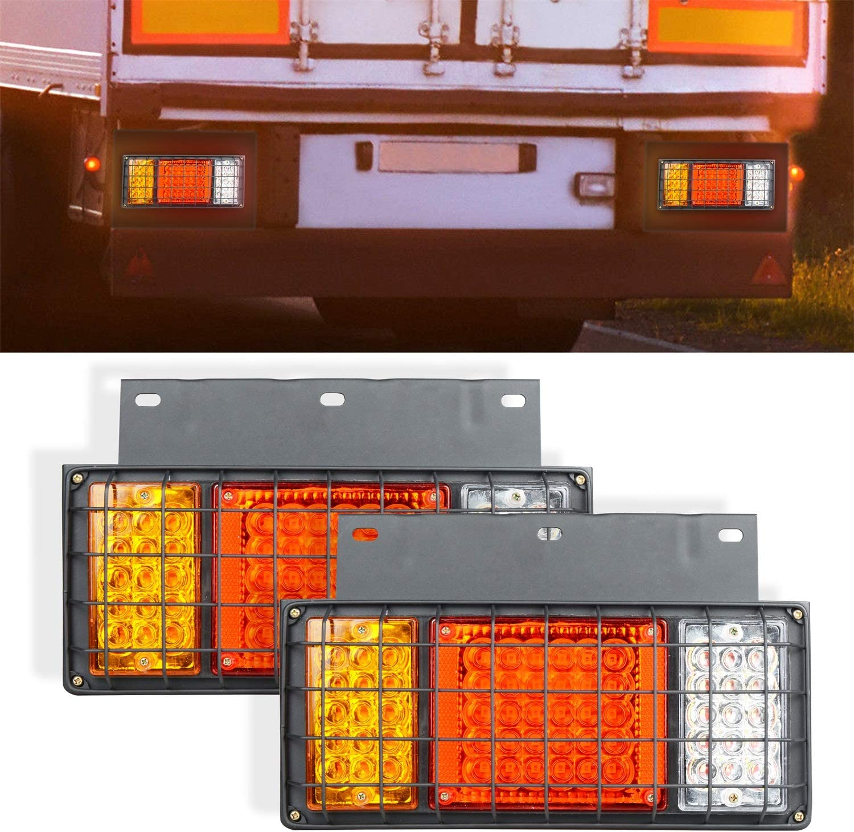 AOKEN 65LED Trailer Tail Lights Bar with Iron Plate,12V Waterproof LED Turn Signal//Parking//Reverse//Brake//Running Lamp for GMC W Series Isuzu Elf Truck NPR NPR-HD NKR NHR NRR FSR FRR 1984