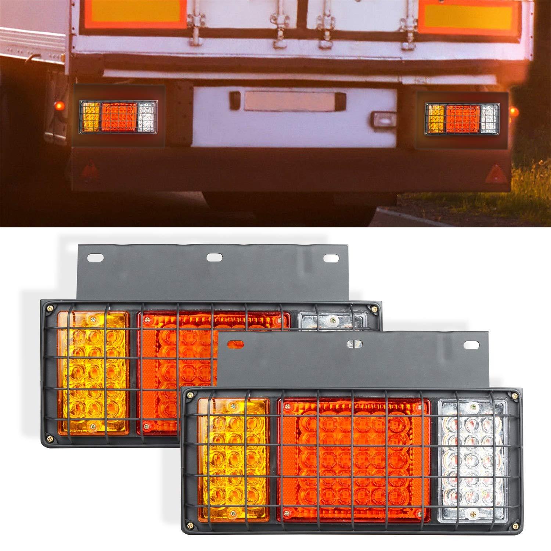 AOKEN 65LED Trailer Tail Lights Bar with Iron Plate,12V Waterproof LED Turn Signal/Parking/Reverse/Brake/Running Lamp for GMC W Series Isuzu Elf Truck NPR NPR-HD NKR NHR NRR FSR FRR 1984 by AOKEN