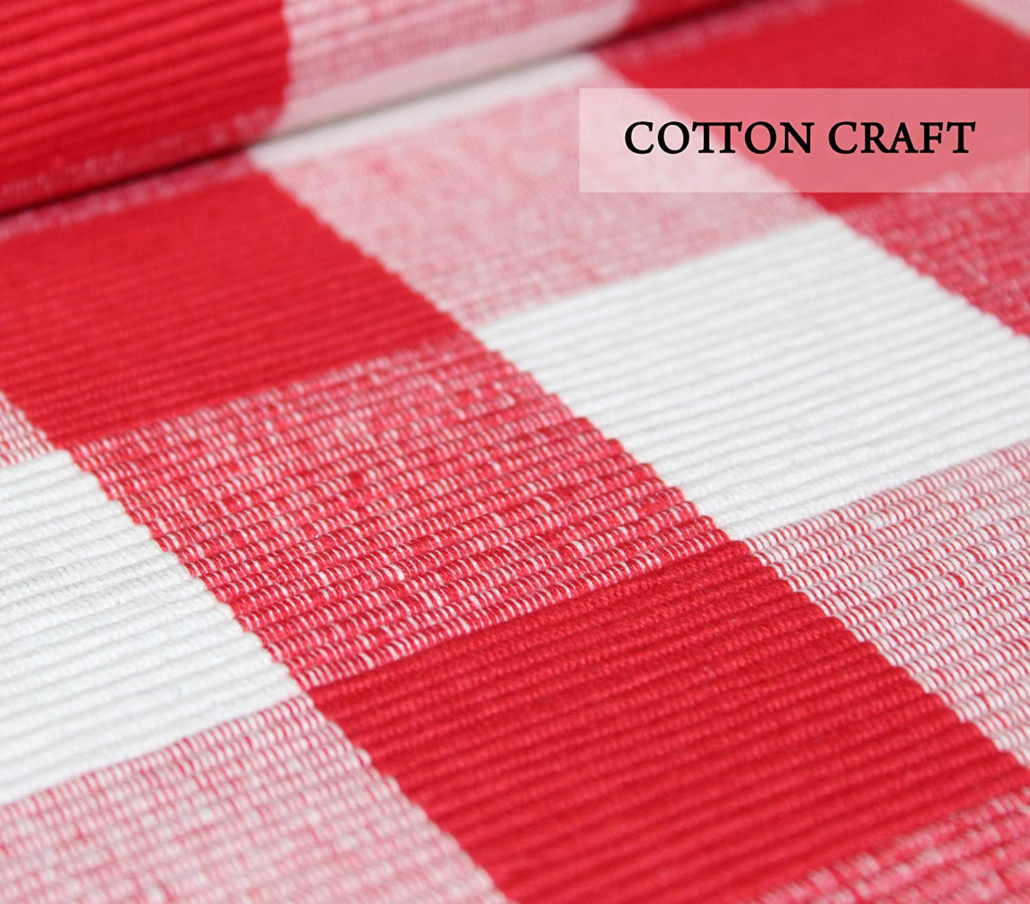 13x19 Hand Woven by Skilled artisans Red 100/% Cotton 8 Pack Plaid Buffalo Check Placemats COTTON CRAFT
