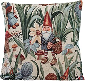 Vintage Floral Throw Pillow Cover Garden Cushion Cover Gnomes Mushrooms Butterflies Green Beige Red Floral Fabric Pillow Cover for Sofa Couch Chair