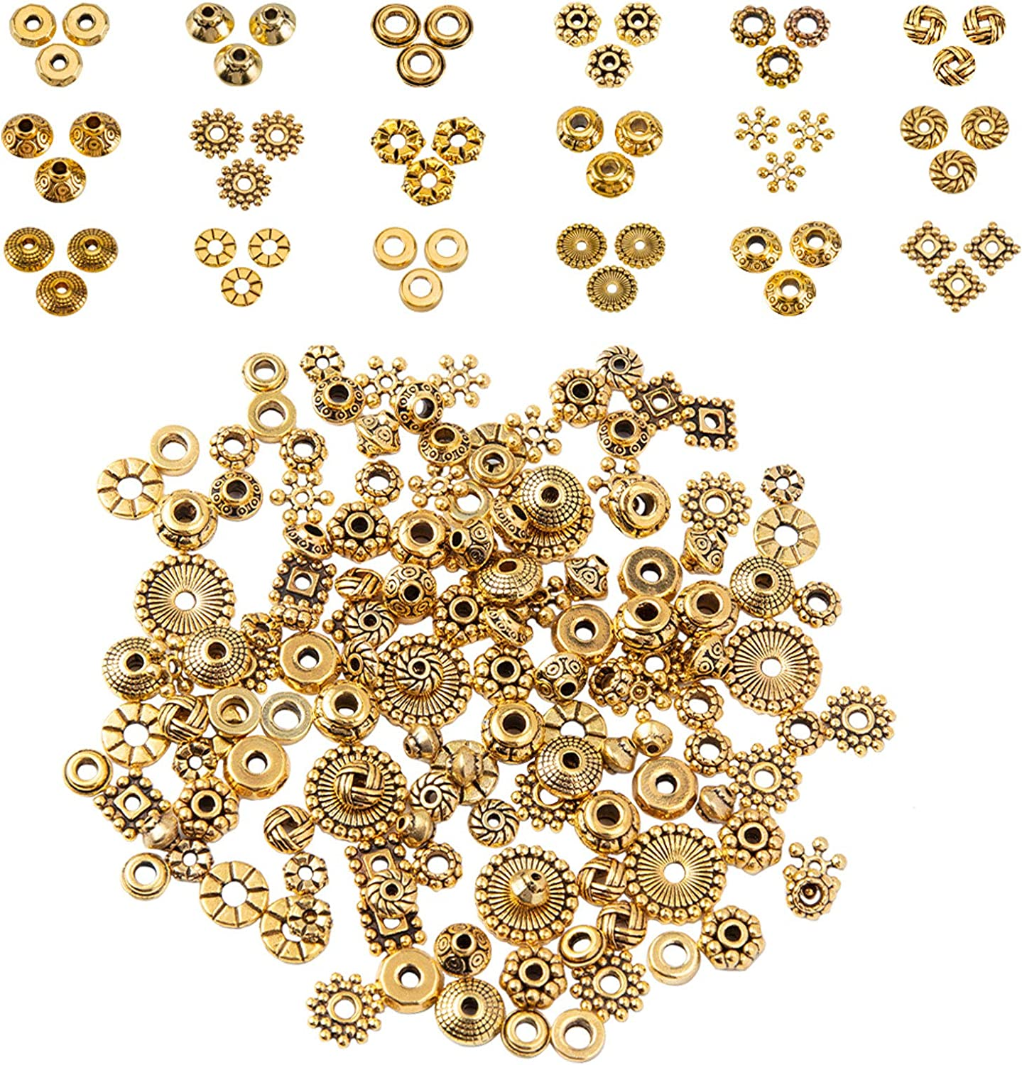 PH PandaHall Antique Golden Spacer Beads, 540pcs 18 Styles Tibetan Alloy Jewelry Beads Metal Spacers for Bracelet Necklace Jewelry Making Supplies