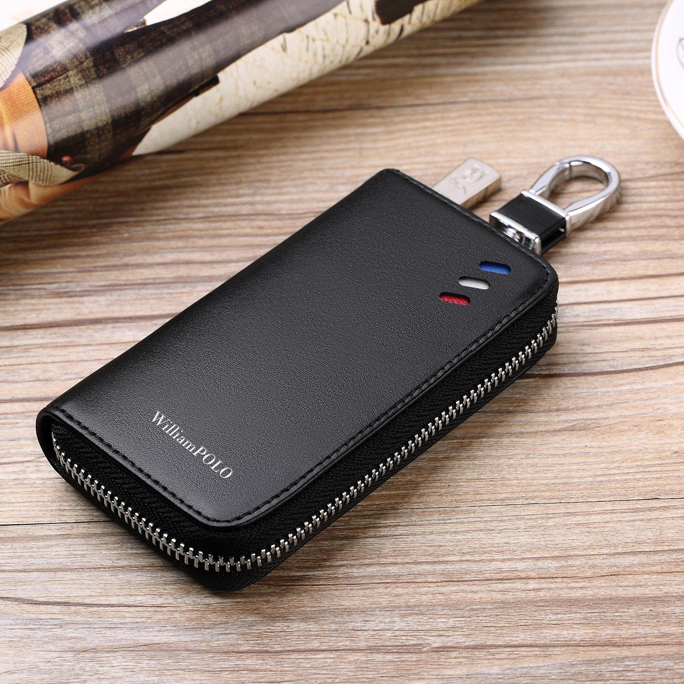 f8a638708c2b Amazon | WILLIAMPOLO キーケース 車 メンズ レディース 本革 カード入れ 多機能 186120 (ブラック(カラビナとストラップ 付き)) | キーケース