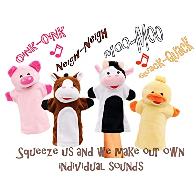 Animal House Talking Animal Hand Puppets Includes (4) Hand Puppets, Each with A Unique Animal Sound When You Squeeze | Baby Gift | Toddler Gift (Barnyard Freinds): Toys & Games
