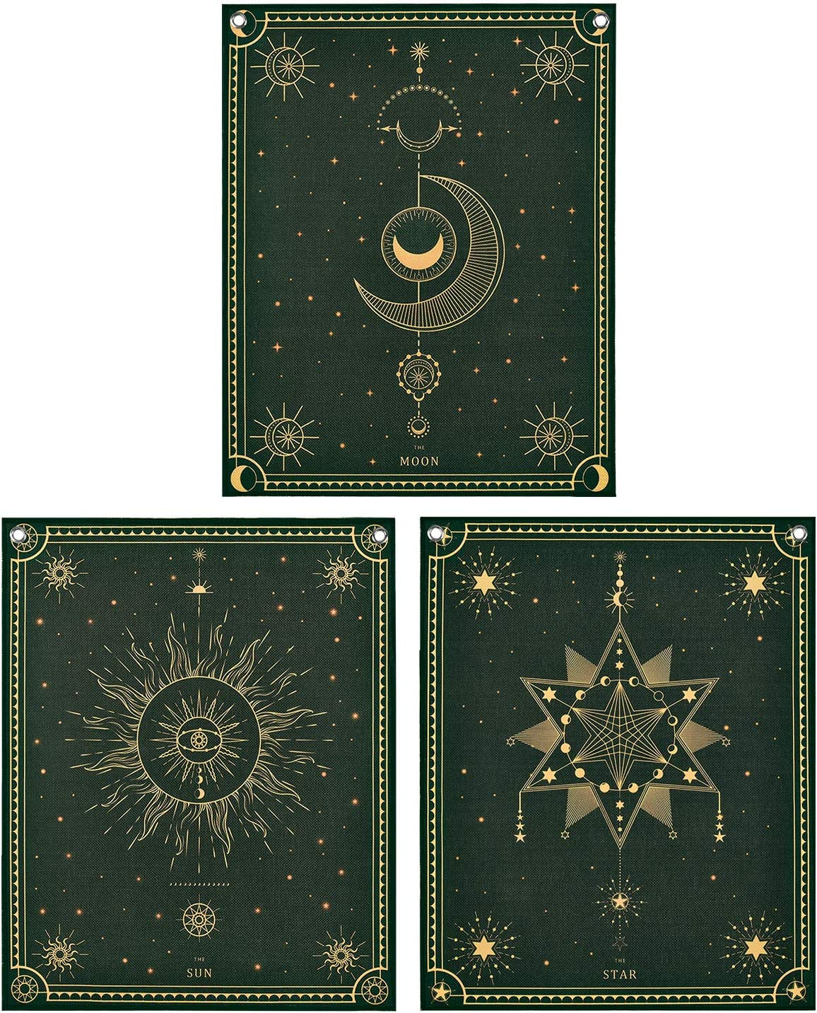 Pack of 3 Tarot Tapestry the Sun Moon Star Tarot Tapestry Tarot Card Tapestries Dark Tapestry Mysterious Medieval Europe Tapestry Wall Hanging with Nails for Room (11.8 x 15.7 inches)