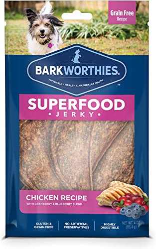 Barkworthies All Natural Superfood Dog Treats – Chicken Turkey Jerky Dog Treats – Choose from Four Different Flavors – Perfect Reward Snack or Training Treat – 4oz. Bag