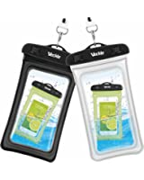 Waterproof Case, 2 Pack Veckle Clear TPU Universal Waterproof Cell Phone Case, Floating Dry Bag, Waterproof Pouch for Smartphone iPhone 7 6 6S 5S Plus Galaxy S8 S7 S6 Note 5 Beach - Black White