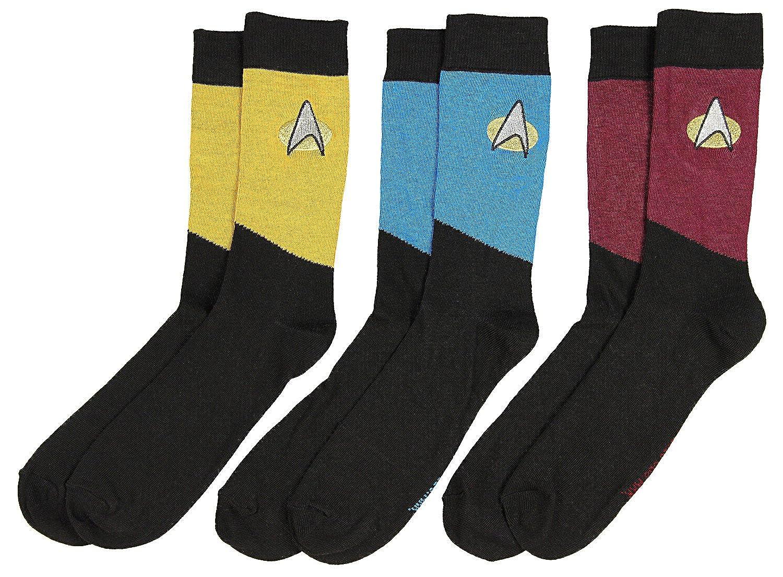 b70a0a9a8af5 Amazon.com: Star Trek The Next Generation Uniform Adult Crew Socks (3 Pack):  Clothing
