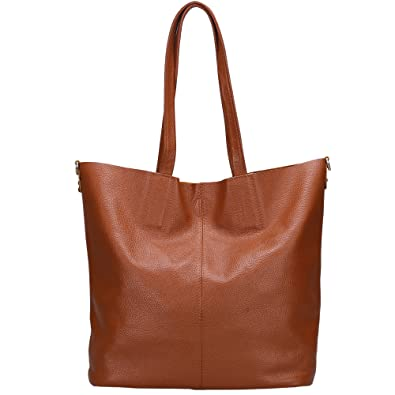 Damero Women's Soft Leather Tote Bag with Shoulder Strap: Handbags ...