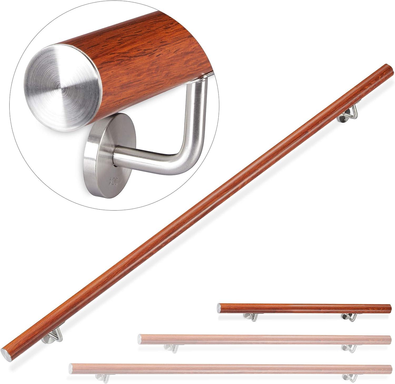 /Ø 42mm 100 cm Treppengel/änder innen Eiche-Optik rund mit Wandhalterung Relaxdays Handlauf Aluminium au/ßen braun