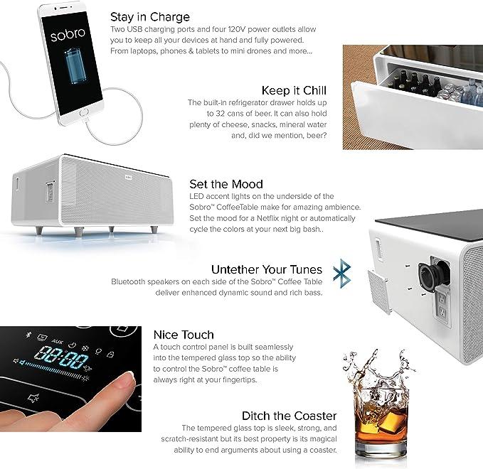 Sobro Table Basse Avec Refrigerateur Tiroir Haut Parleurs