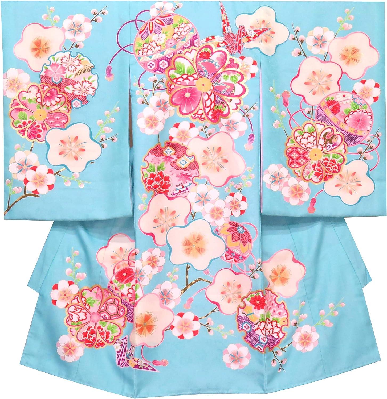 お宮参り 女の子 着物 初着 産着 上質国産生地 洗えるお祝い着(合繊)「水色、梅に鞠」YGU102-BL
