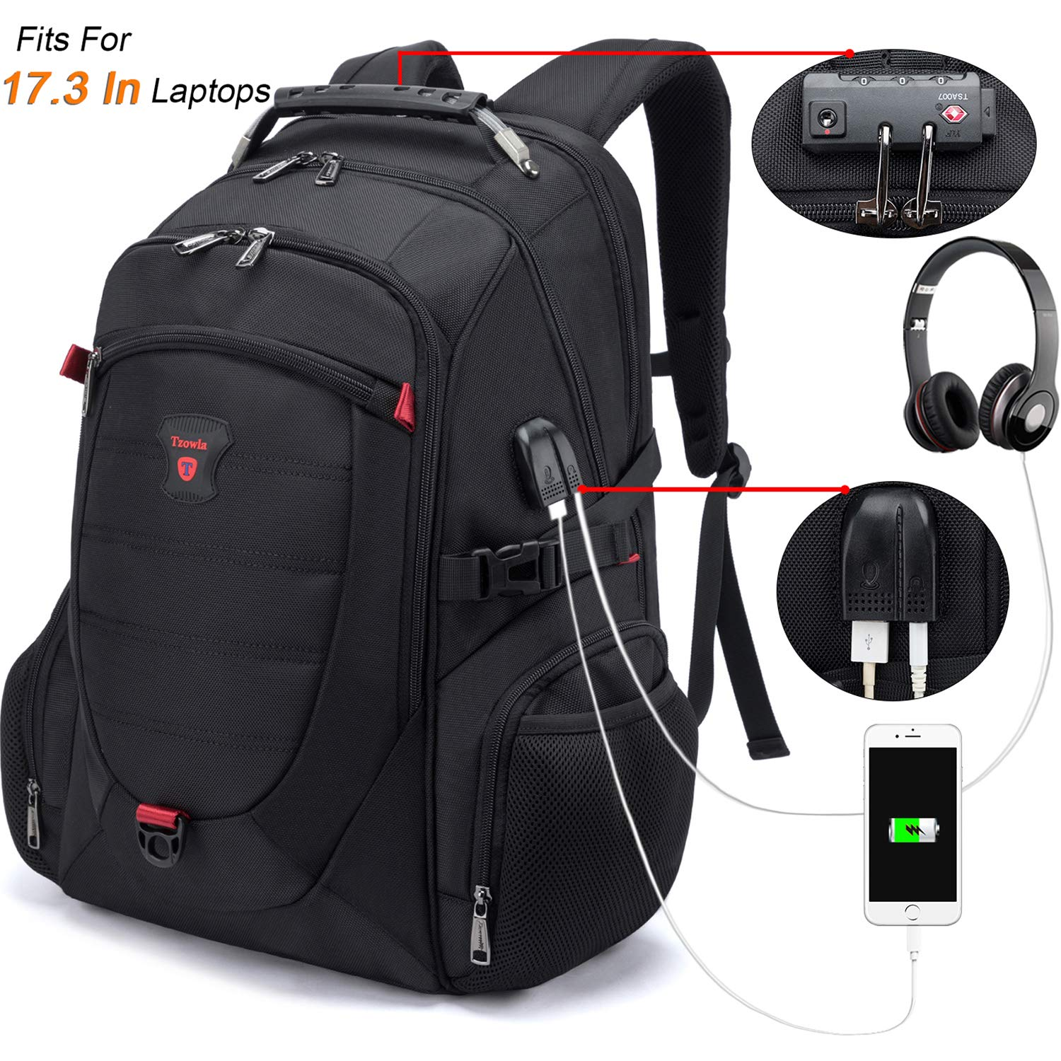 Tzowla Travel Laptop Backpack,Anti-Theft Water Resistant Business Luggage with TSA Lock/&USB Charging Port Durable Computer Cooler Daypack for Men Women College School Bag Fit 17//18 inch Laptops-Black