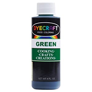 DyeCraft Green Food Coloring (LARGE 4 oz Bottle) Odorless, Tasteless, Edible - Perfect for Baking, Cooking, Arts & Crafts, Decorations and More