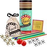 Jacks Game with Ball and Wooden Pick-Up Sticks Gift Set with 12 Pieces Gold and Silver Metal Jacks with 2 Sizes of Red Ball, Jax Game, Retro Game, Juego de Yaquis by Happy Jack