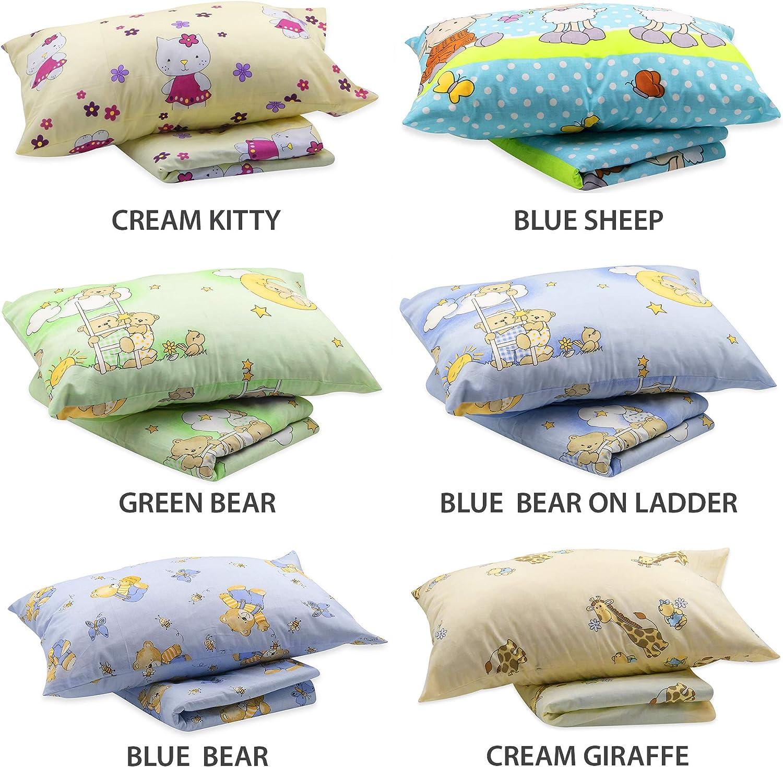 BlueberryShop Literie pour enfants Housse oreiller 42 x 62 cm Housse couverture 120 x 150 cm Bleu Mouton Pour enfants 0-7 ans