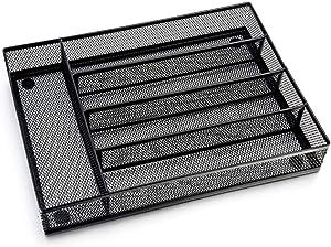 Ipanda Cutlery Tray, Cutlery Organizer, Non-Silp 5 Compartments Utensil Drawer Storage, Kitchen/Office, Steel Mesh Silverware Drawer/Holder/Divider (Black)