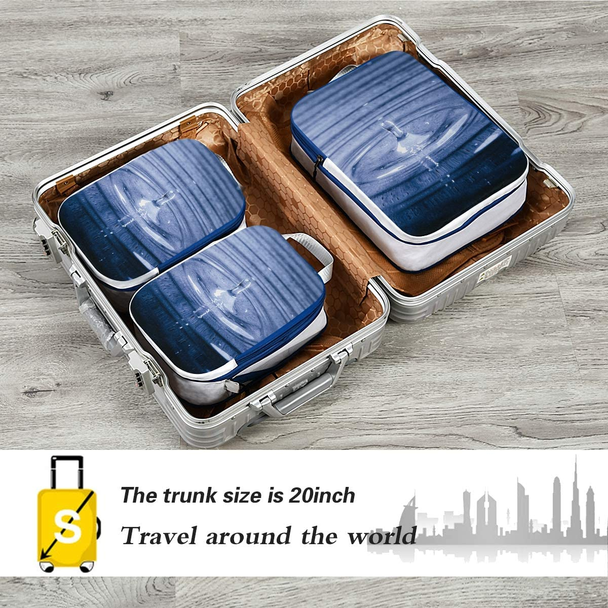 LUPINZ Water Drop Pattern Travel Luggage Packing Organizers 3 Pieces Travel Cubes