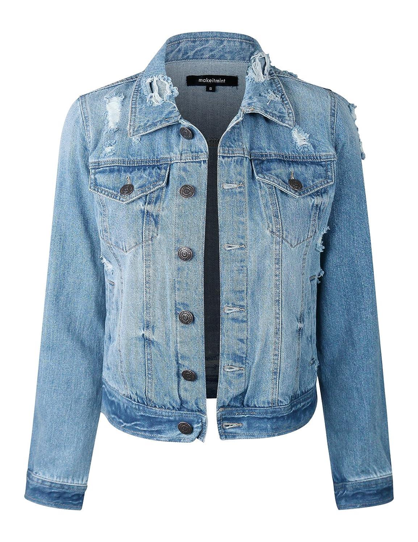 makeitmint Women's Casual Distressed Washed Boyfriend Look Style Denim Jacket