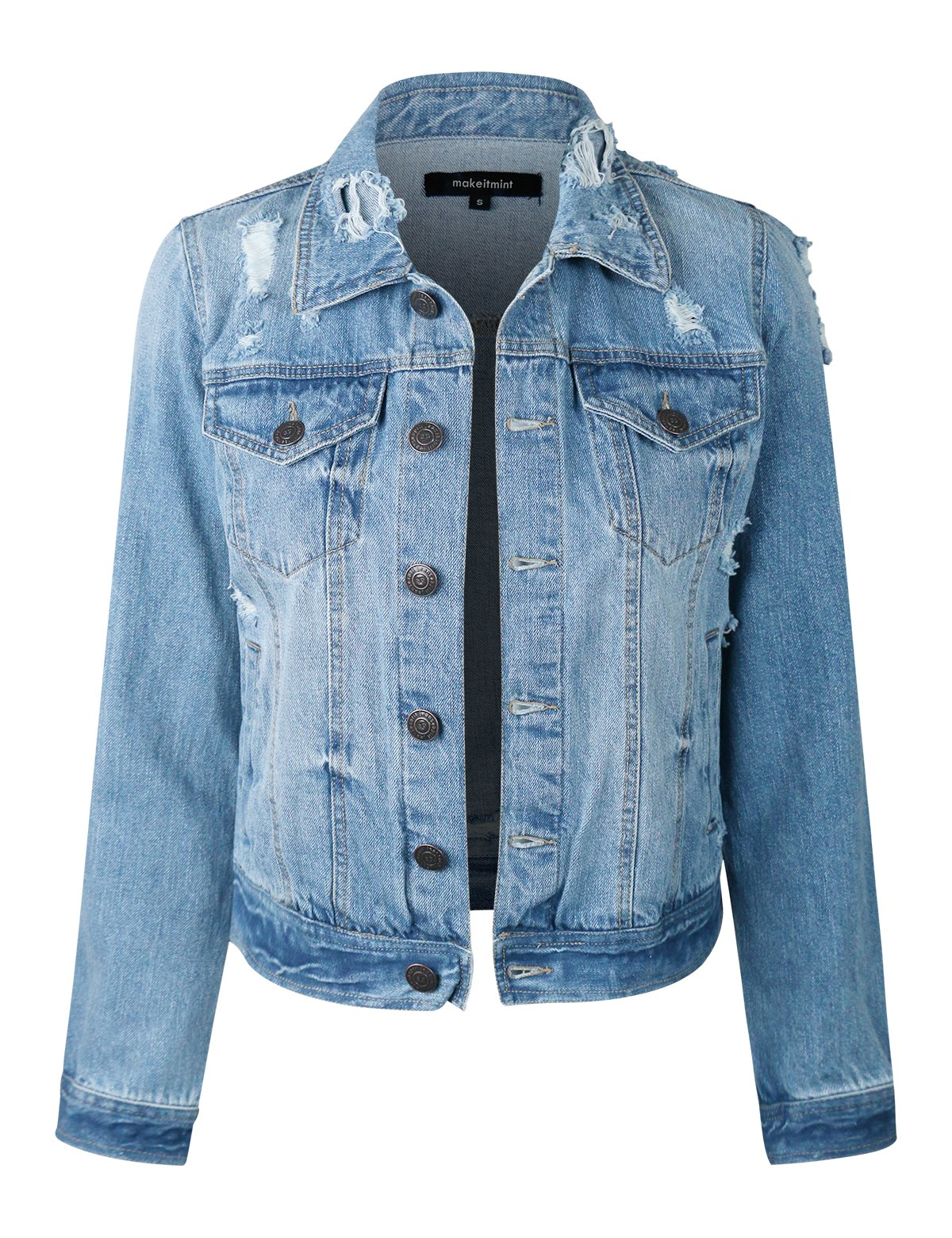 makeitmint Women's Casual Distressed Washed Boyfriend Look Style Denim Jacket YJD0004-LIGHT-LRG