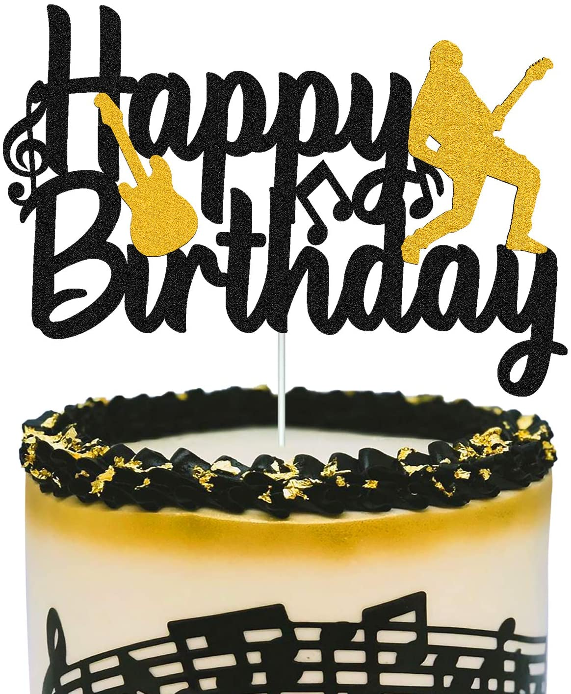 Amazon Com Music Cake Topper Happy Birthday Sign Musical Notes Player Cake Decorations For Musical Rock Theme Man Boy Girl Birthday Party Supplies Double Sided Black Sparkle Decor Home Kitchen