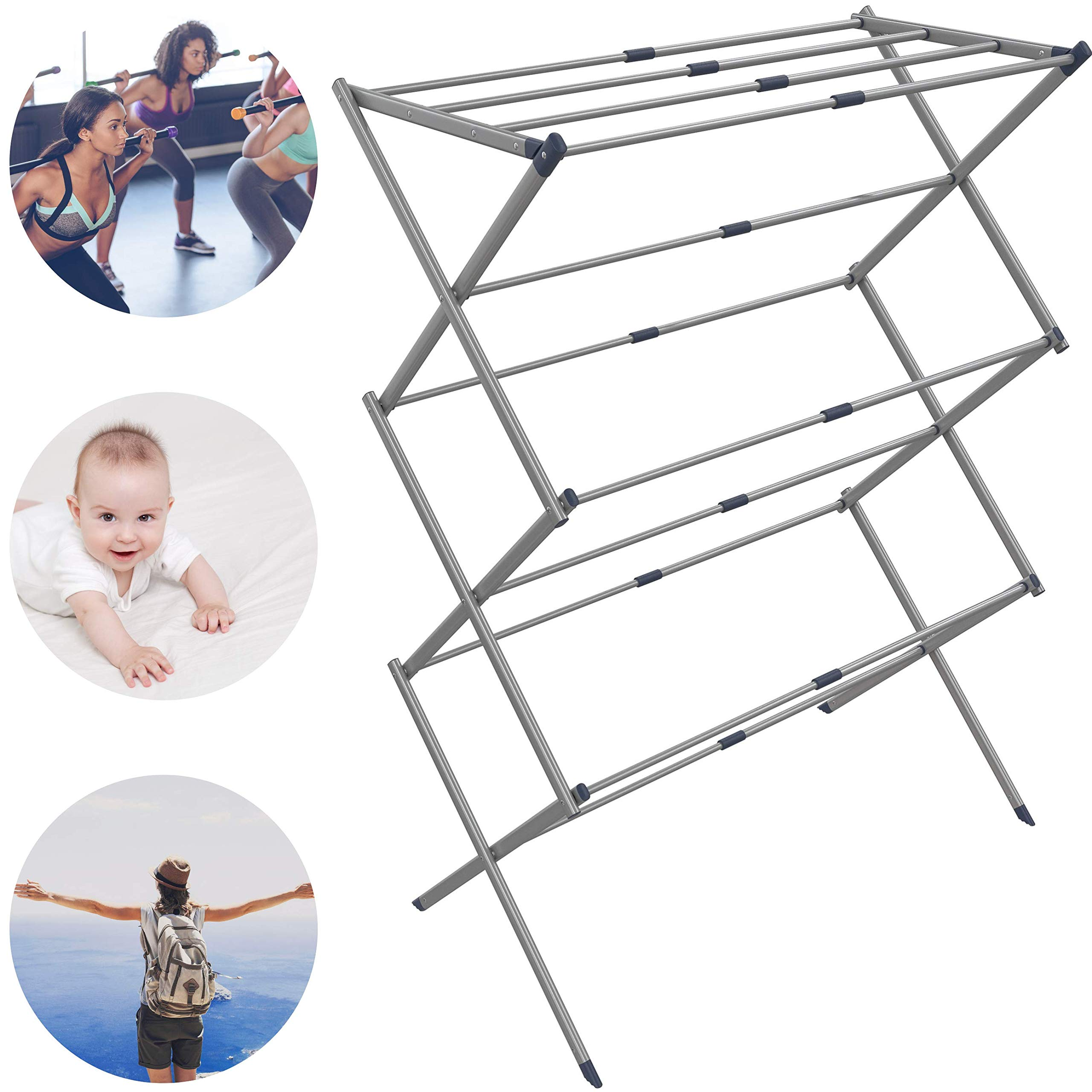 Clothes Drying Rack - Drying Rack - Laundry Drying Rack - Laundry Hanger - Baby Clothes Drying Rack - Folding Drying Rack - Portable Drying Rack - Accordion Drying Rack - Air Expandable Drying Rack by Penatline