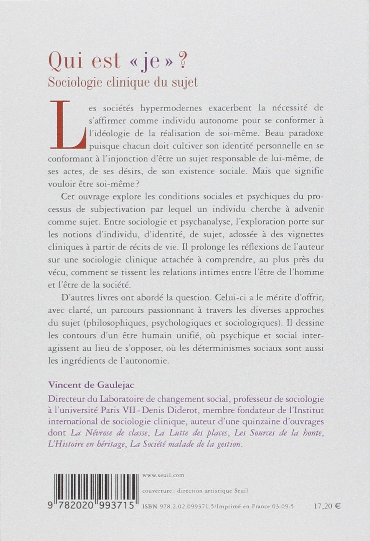 Sociologie clinique du sujet: Vincent de Gaulejac: 9782020993715: Amazon.com: Books