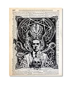 Lovecraft Cthulhu Upcycled Vintage Dictionary Art Print 8x10 UNFRAMED Riot Collection