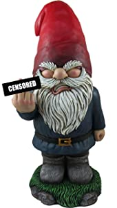 World of Wonders - Gnaughty Gnomes Series - This Ol' Grump - Collectible Indoor Outdoor Grumpy Gnome Flip-Off Middle Finger Naughty Offensive Home Decor Accent Garden Patio Accessory, 13.75-inch