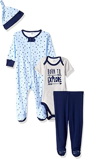Gerber Baby-Boys 4-Piece Sleep N Play Pant and Cap Layette Set Onesies