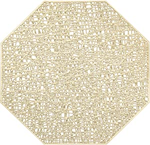 AdasBridal Gold Octagonal Placemats for Dinner Table Set of 6 Metallic Hollow Out Table Mats Washable Non-Slip Heat Resistant Vinyl Kitchen Place Mats for Table Decor Wedding Accent Centerpiece