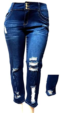 48bca927b10ff L,Square Womens Plus Size Stretch Distressed Ripped Blue Skinny Denim Jeans  Pants (14