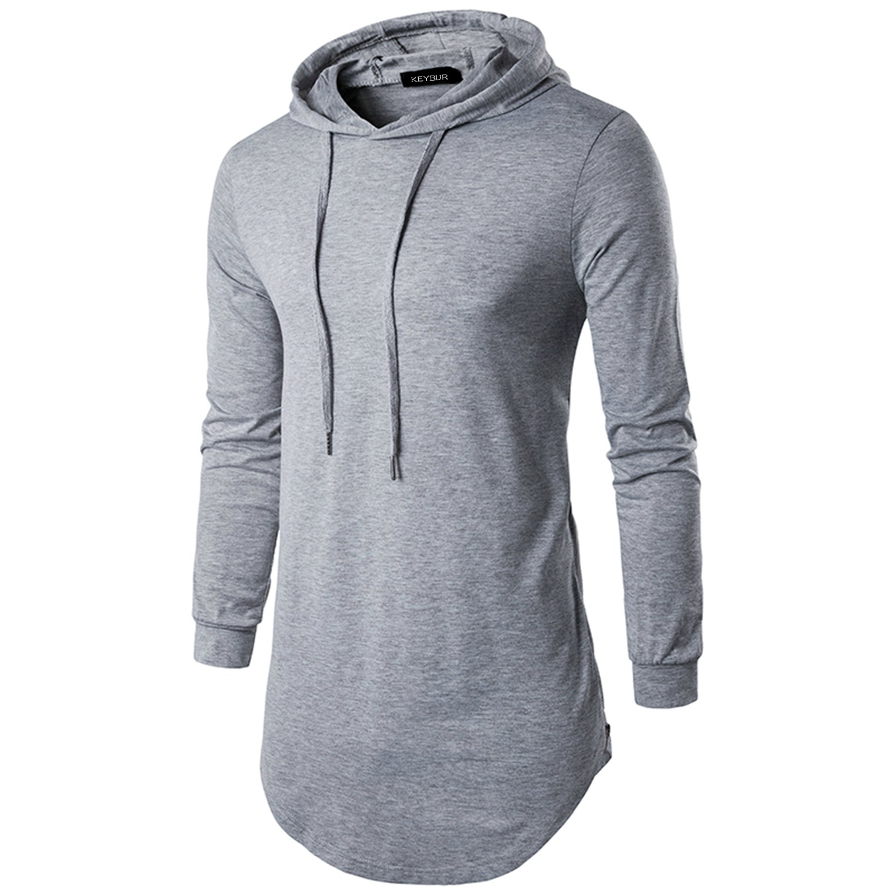 Keybur Mens Hipster Hip Hop Longline Classic Pullover Long Sleeve Hoodies Fashion Sweatshirt (M, Grey)