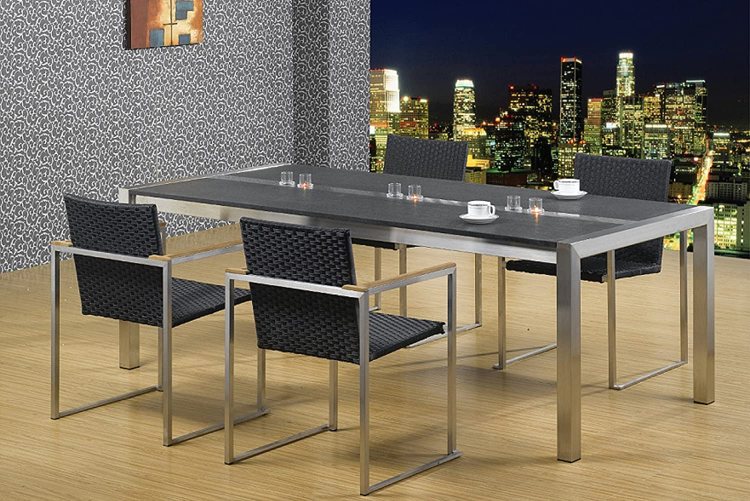 Szagato Dining Room Table Stainless Steel with Granite Top L x W 9 x 9  cm Brand Living Room Table, Dining Table, Garden Table, Designer Table