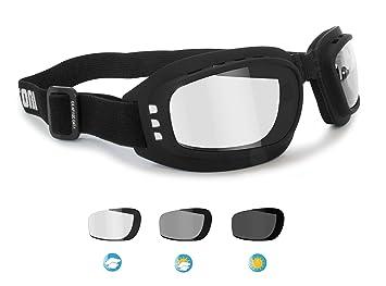 99c63591d3 BERTONI Gafas de Moto Fotocromaticas Antivaho con Ventilación Directa -  Elástico Ajustable- by Italy F112A - Gafas Motoristas: Amazon.es: Coche y  moto