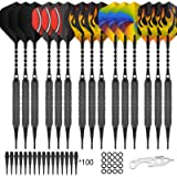 CyeeLife 15 Packs Soft tip Darts Set 18g,100 Extra Tips+Dart Tool+15 Aluminum shafts+20 Flights,Professional Plastic tip…