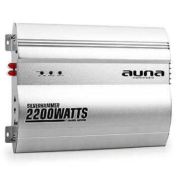 auna Silverhammer amplificador para coche de 2 canales (2.200 W potencia máxima, Super Bass