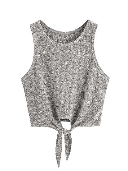 2cb089e9a32706 SweatyRocks Crop Top Women Vest Ribbed Tank Top at Amazon Women s Clothing  store