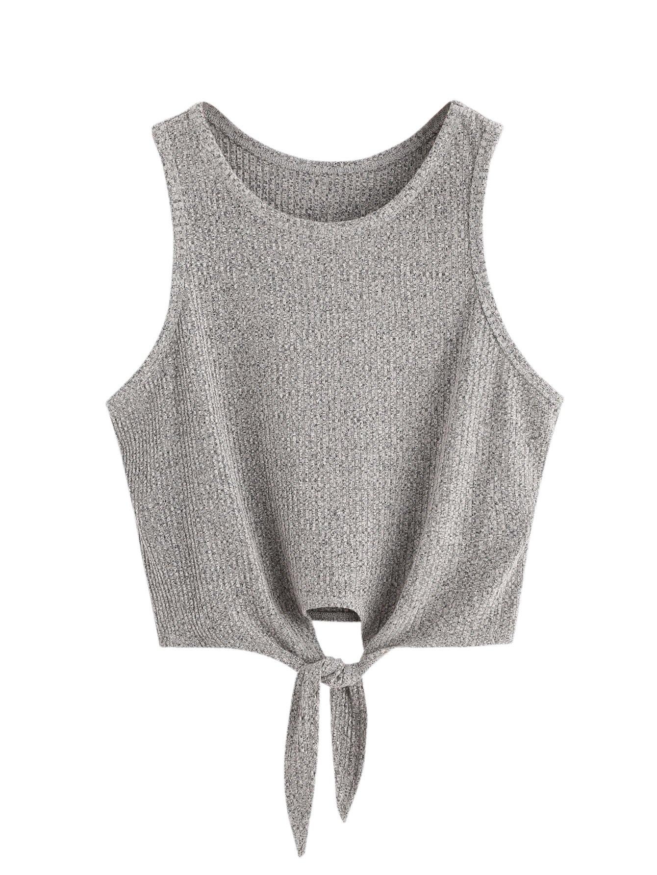SweatyRocks Crop Top Women Vest Ribbed Tank Top, Grey, Medium