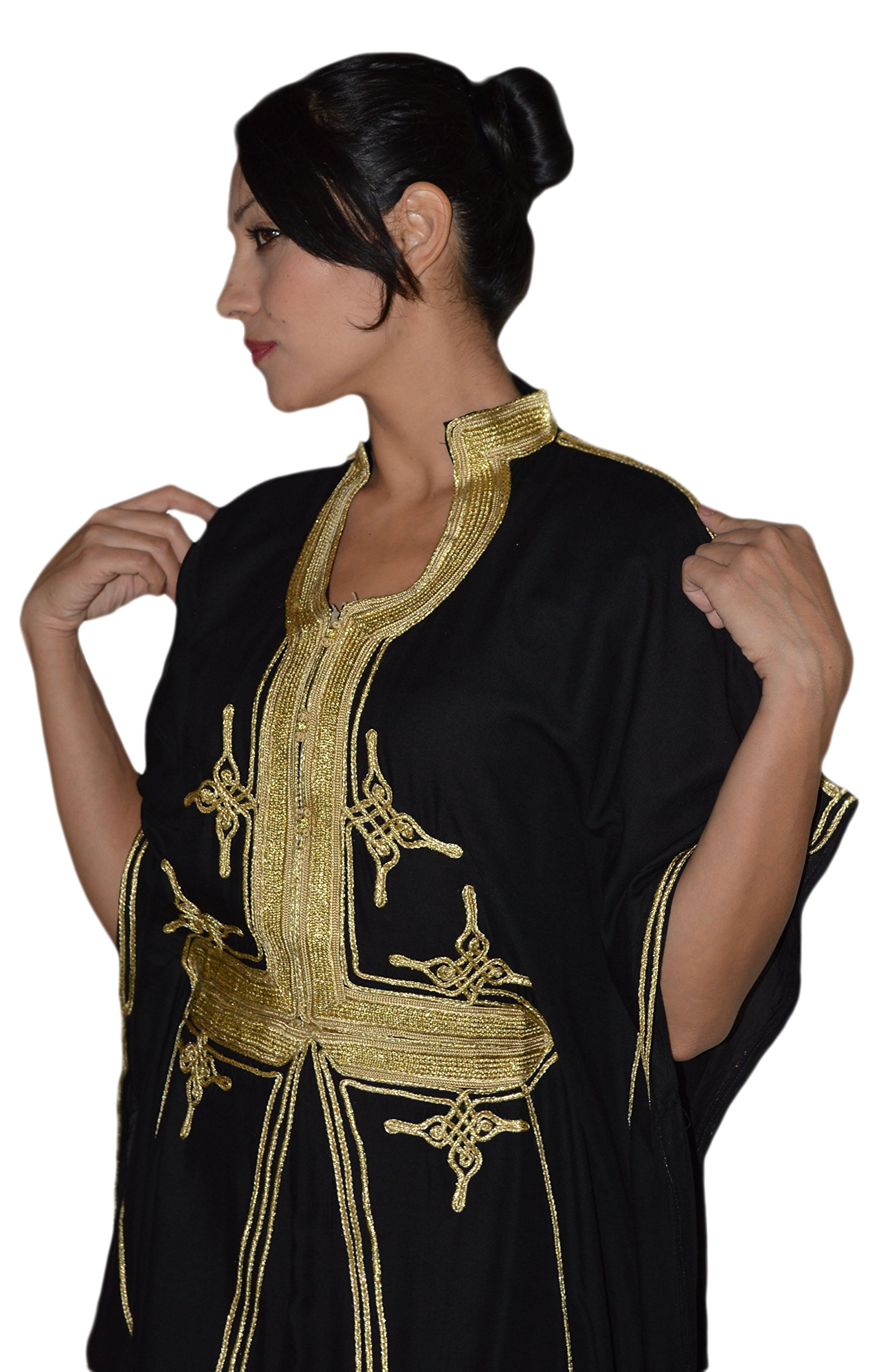 Moroccan Caftan Hand Made Breathable Cotton with Gold Hand Embroidery Long Black by Moroccan Caftans (Image #3)
