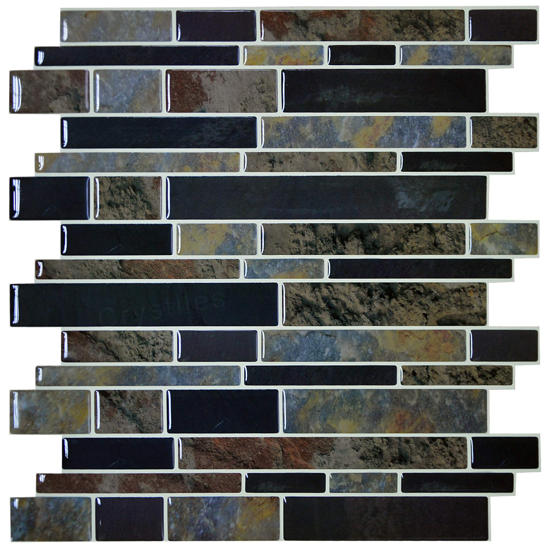 Crystiles 12''x12'' Vinyl Peel and Stick Backsplash Tile, Multi Deep Color Marbles, Pro Series Thicker Version, 4-Sheet Pack