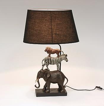 Geniale Tischlampe Safari 70cm Elefant Zebra Lowe Tiere Lampe
