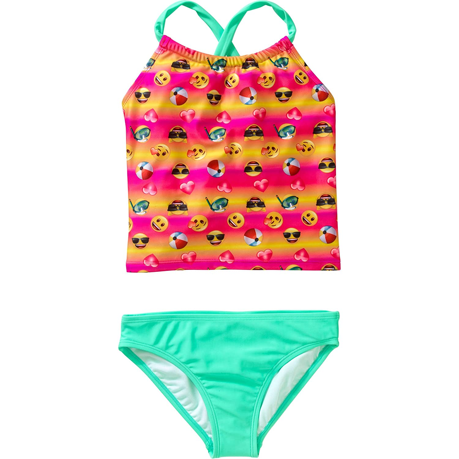 a469891cc61cc Your little girl will love wearing this two-piece Emoji Expressions Girls\'  Tankini Swimsuit while making a splash in the pool in the ocean.