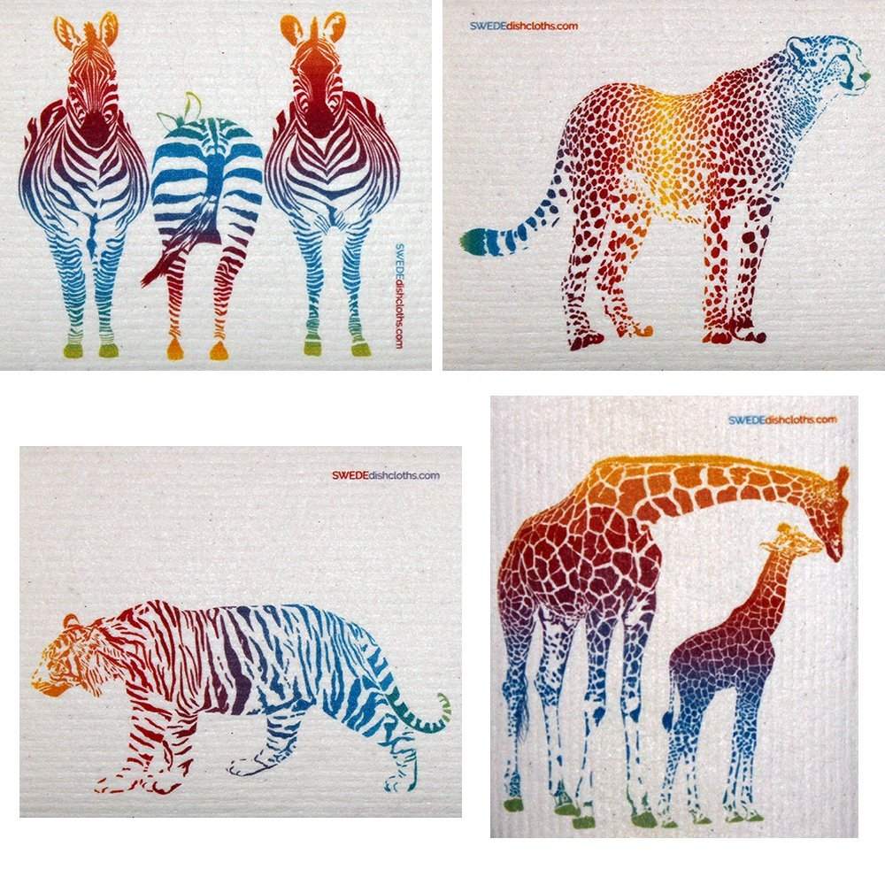 Mixed Colorful Animals Set of 4 each Swedish Dishcloths | ECO Friendly Absorbent Cleaning Cloth | Reusable Cleaning Wipes