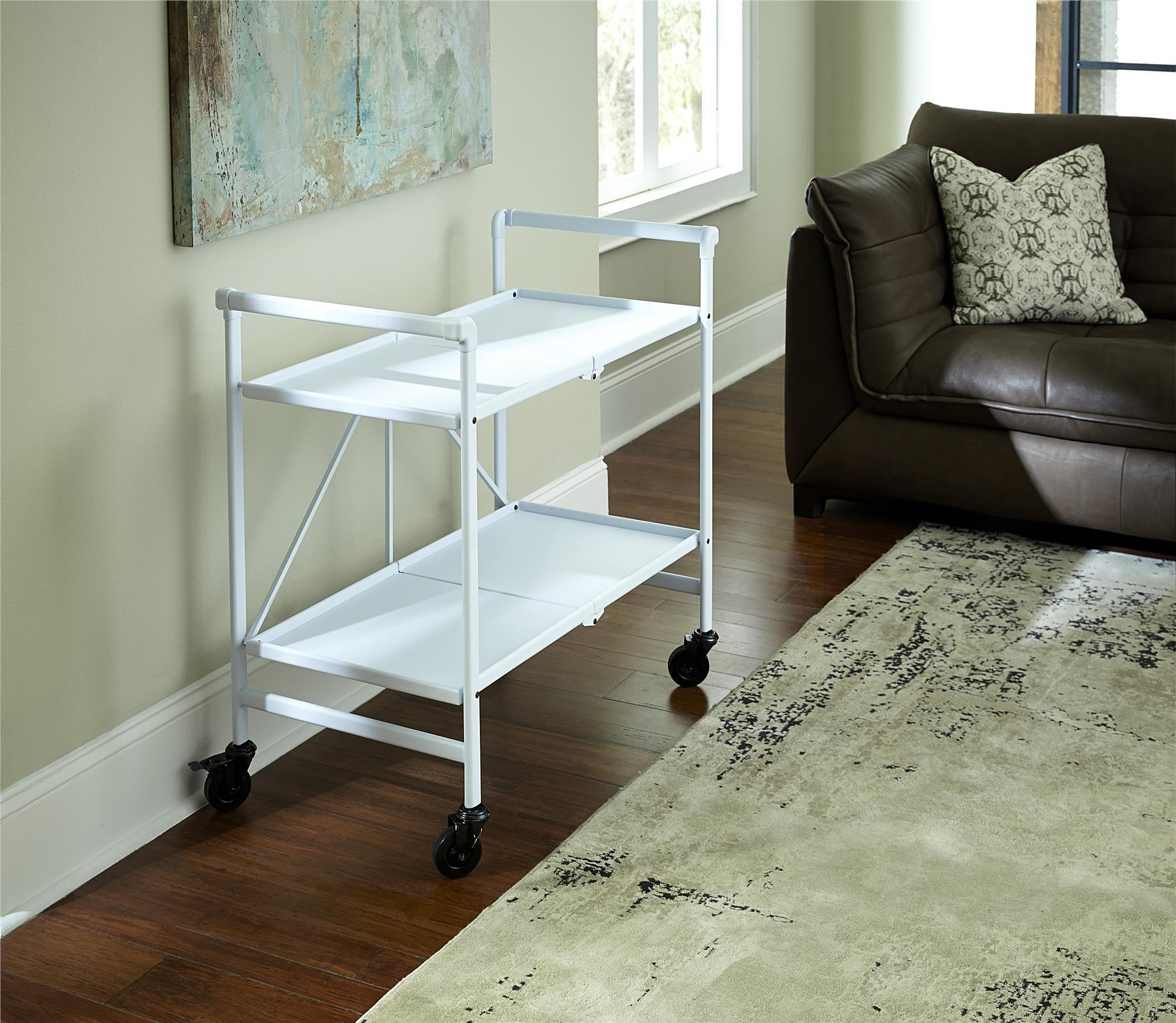 Cosco Indoor/Outdoor Serving Cart, Folding, White