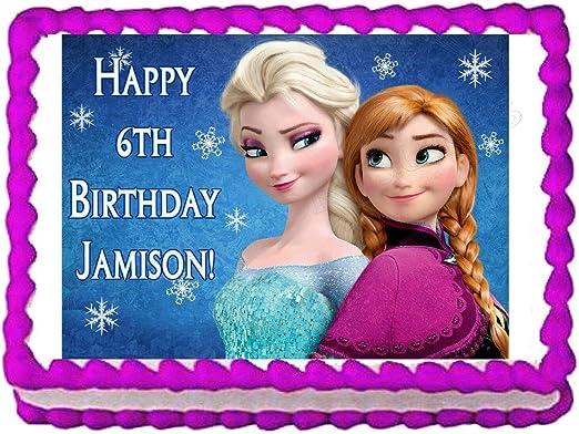 Amazon.com: Decoración comestible para tartas de Frozen Anna ...
